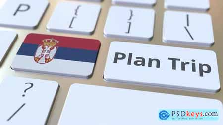 PLAN TRIP Text and Flag of Serbia on the Keyboard 33039138