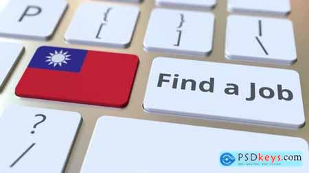 FIND A JOB Text and Flag of Taiwan on the Buttons 33039155