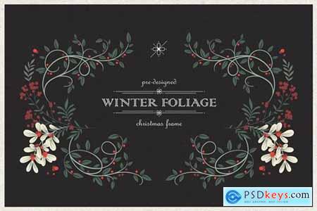 Winter Foliage -- Pre-Designed Christmas Frame
