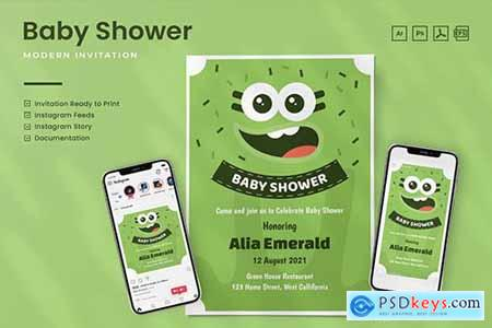 Baby Shower Invitation - Print & Social Media 3CUHBRP