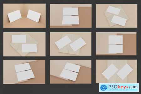 9 Perspective Business Card Mockup Pack 12