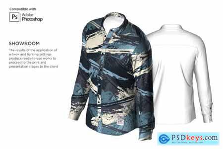 3D Mens Dress Shirt LS Mockup 6002097