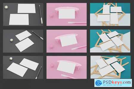 11 Perspective Business Card Mockup Pack 08