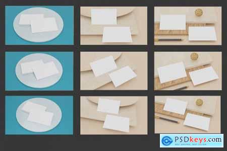 9 Perspective Business Card Mockup Pack 09