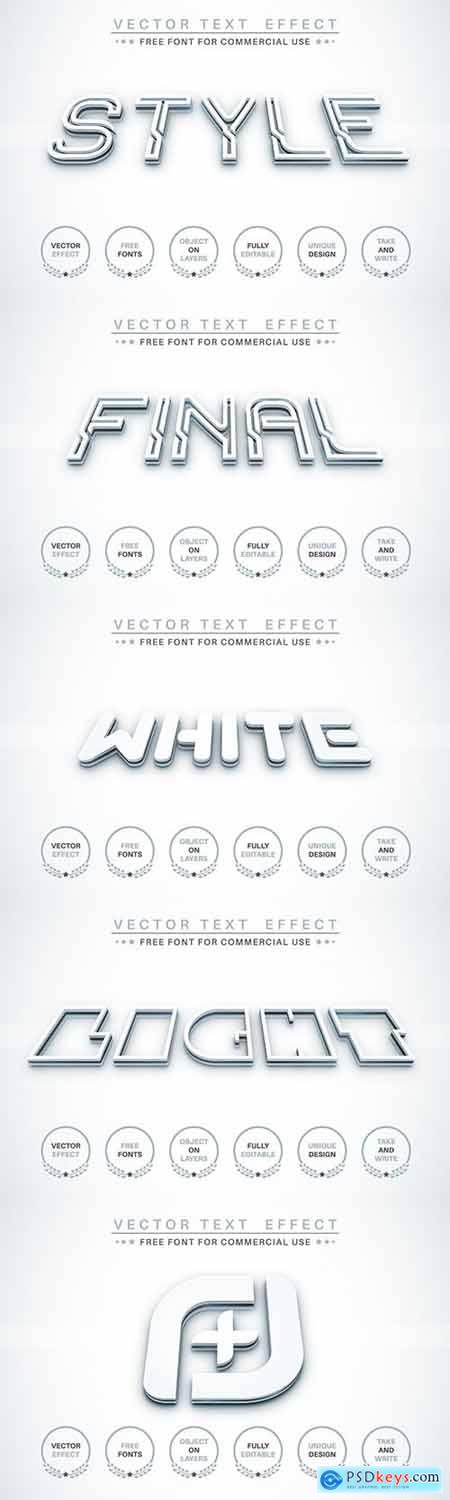 3D White - editable text effect, font style