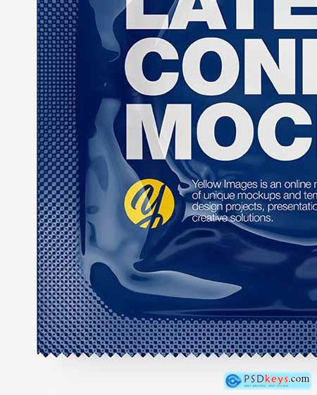 Glossy Square Condom Packaging Mockup 86388