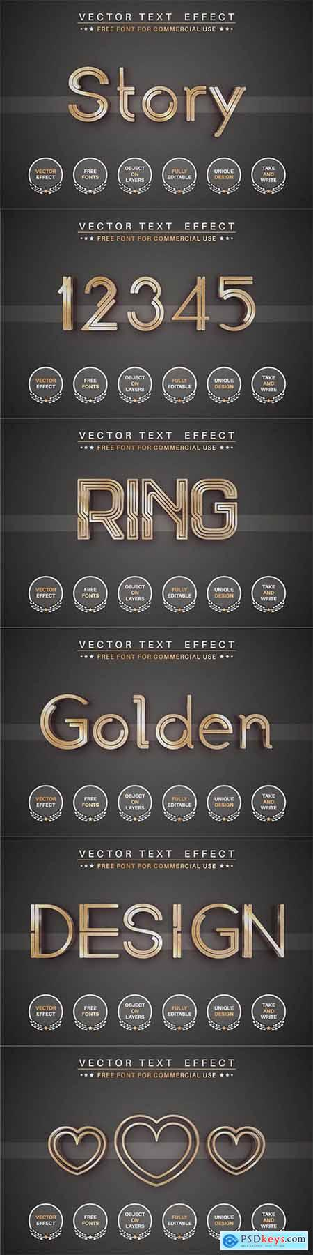 Golden story - editable text effect, font style