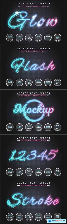 Glow stroke - editable text effect, font style