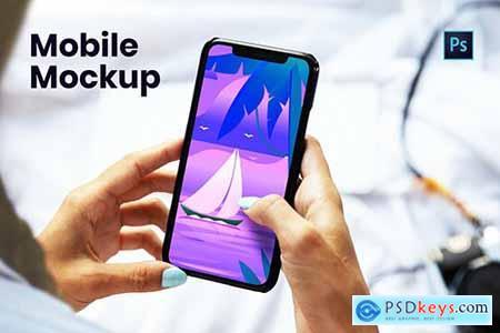 Mobile with Hand Mockup RLX74G2