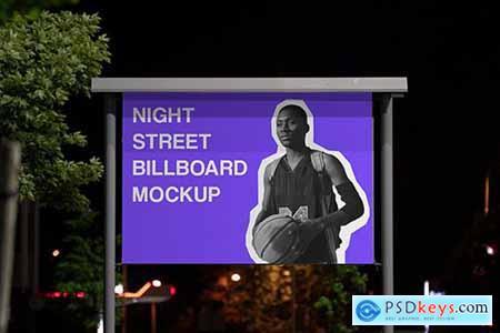 Night Outdoor Street Billboard Mockup #2 B36ED4G