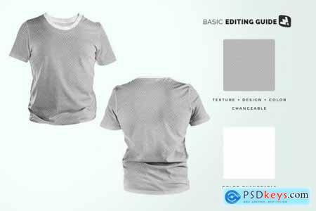 Mens Round Collar Tshirt Mockup 5280198