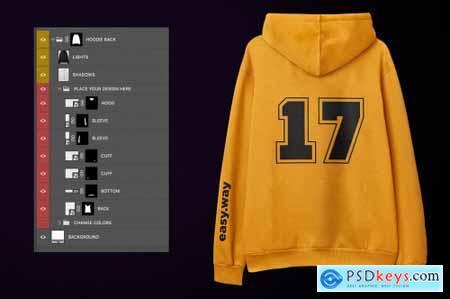 Hooded Sweatshirt Back PSD Mockup 5910785