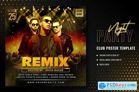 Gold Party Poster Template
