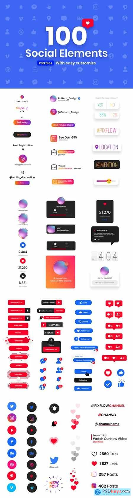 100 Handy Social Elements
