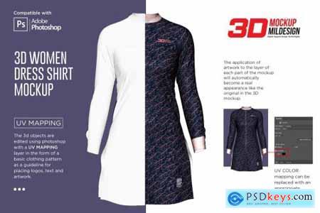 3D Women Dress Shirt LS Mockup 6002121