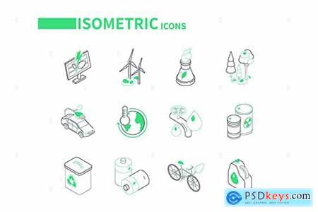 Eco Lifestyle - Line Isometric Icons BRG4PAF