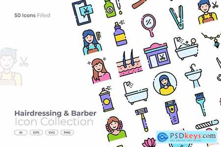 Hairdressing and Barber Filled Icon KWR9QH9