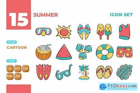 Summer Icon Set (Cartoon Style) #01 5NLFCZC