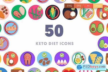 50 Keto Diet Icons AKGWNVB