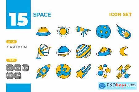 Space Icon Set (Cartoon Style) #01 2WJCFF2