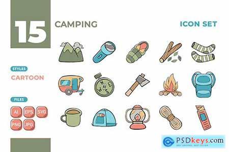 Camping Icon Set (Cartoon Style) #01