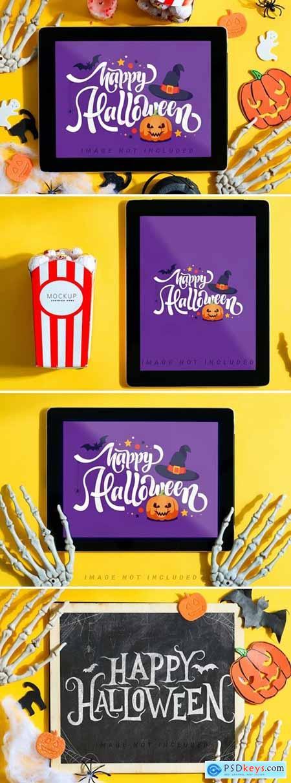 Halloween tablet mockups set