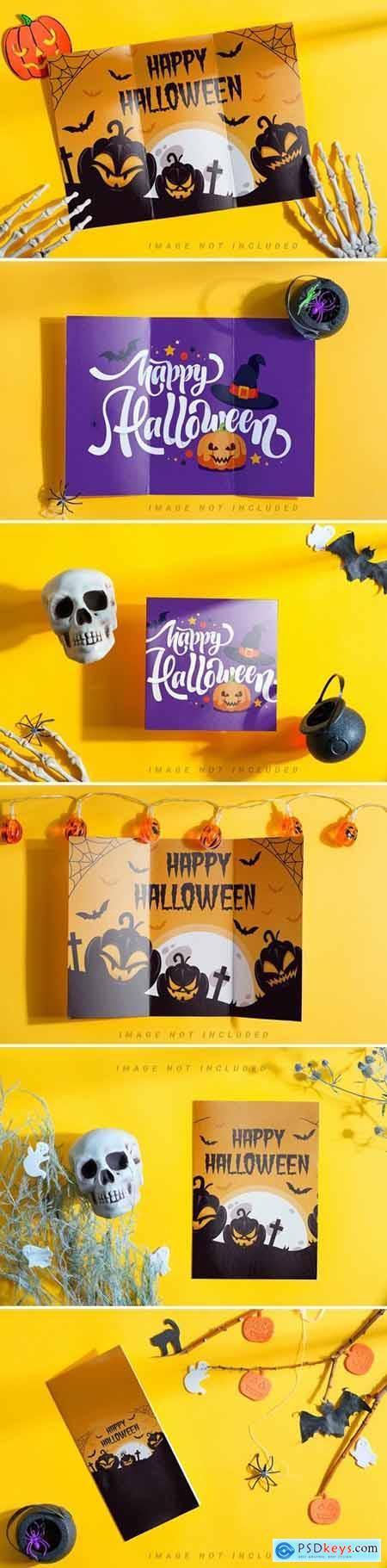 Halloween brochure mockup set