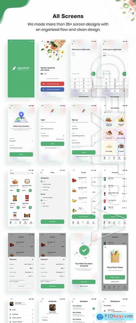 Agrofruit - Groceries App UI Kit