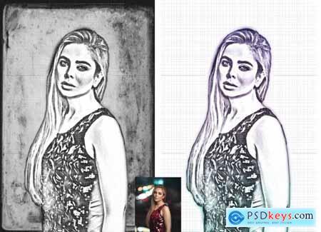Canvas Sketch Portrait PS Action 5970167