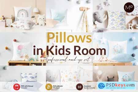 Pillows in Kids Room Mock-ups Set 6272135