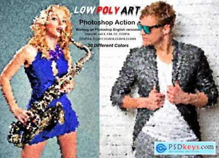 Low Poly Art Photoshop Action 5948965