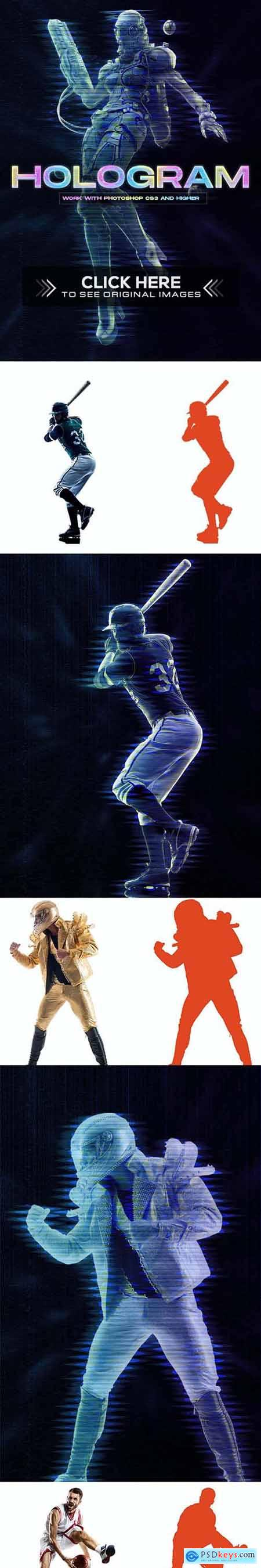 Hologram Photoshop Action 32056335