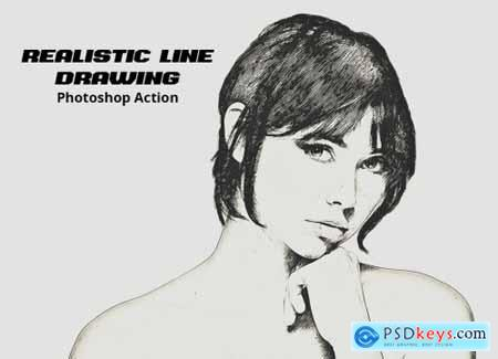 Realistic Line Drawing Ps Action 5114632
