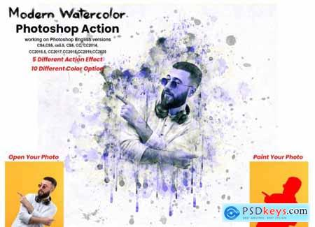 Modern Watercolor Photoshop Action 5741401