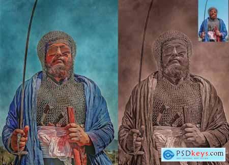 Old Oil Paint Photoshop Action 5446466
