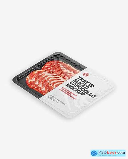 Plastic Tray With Glossy Film & Capocollo mockup 86385