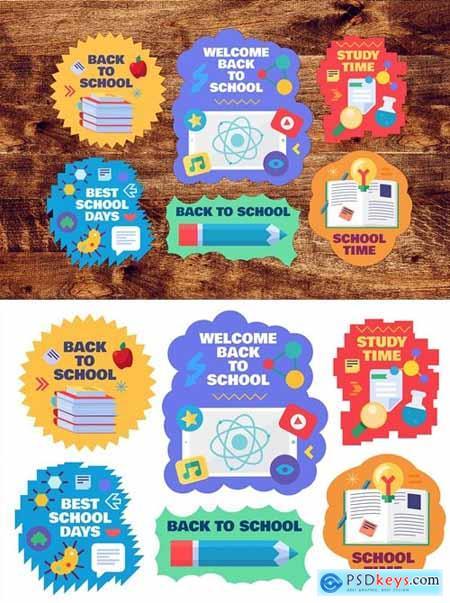 Back To School Flat Stickers Set