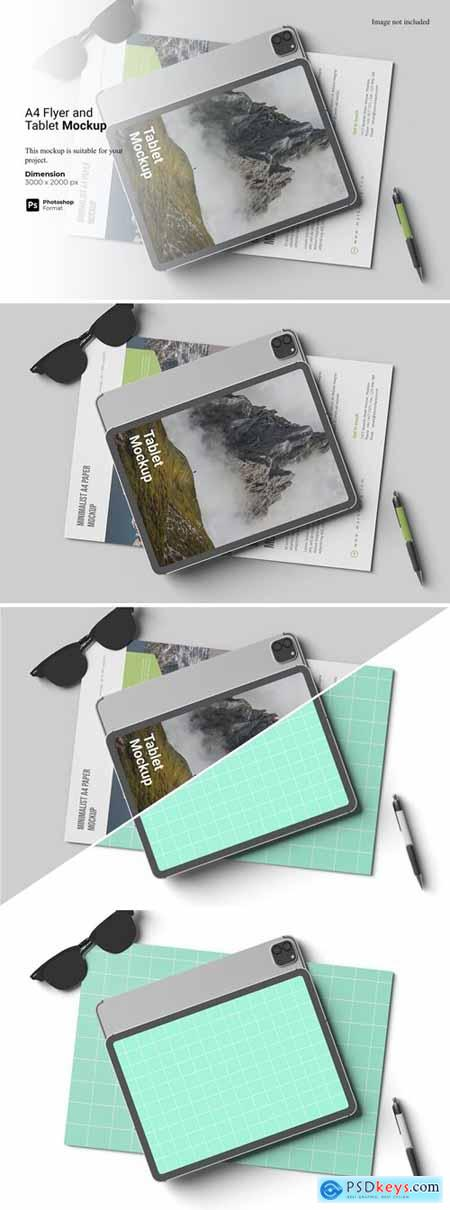 A4 Flyer and Tablet Mockup