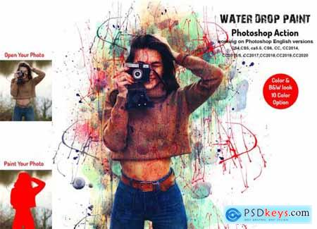 Water Drop Paint Photoshop Action 6301814