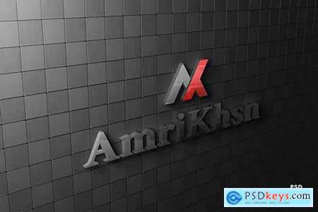 Realistic company glass logo on wall mockup N8KQFVN