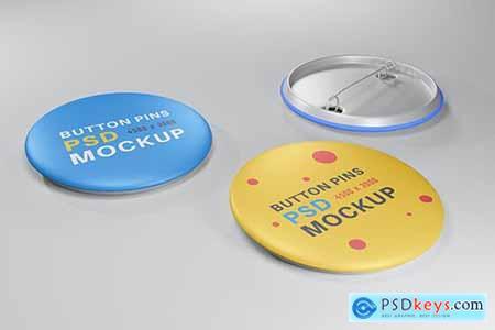 Realistic buttons pin design mockup NSM62KZ