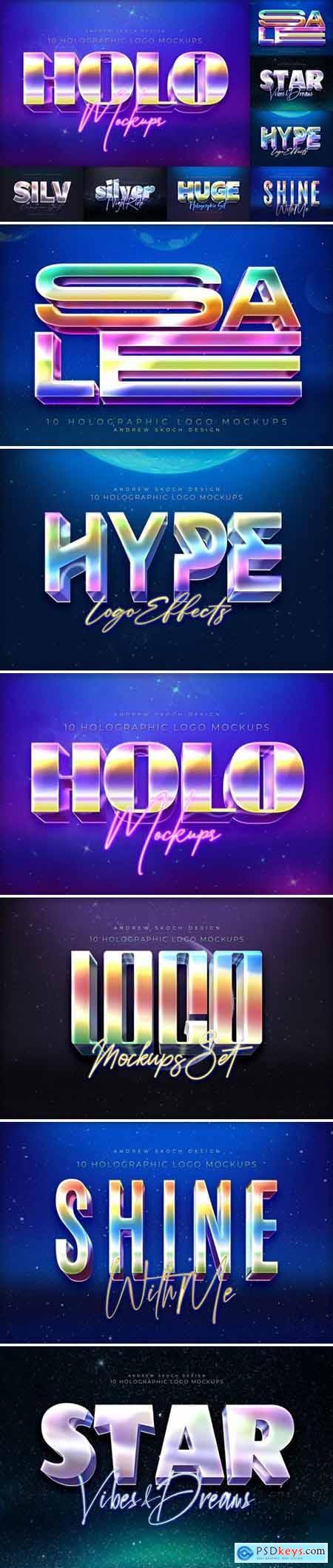 10 Holographic Logo Mockups