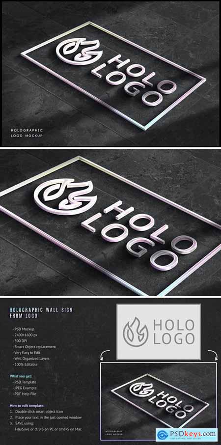 Holographic Logo Mockup