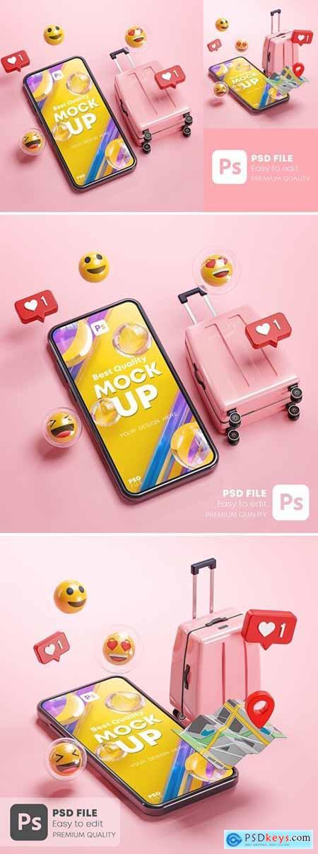 Phone Mockup Pink Suitcase Emoji Travel Online 3D
