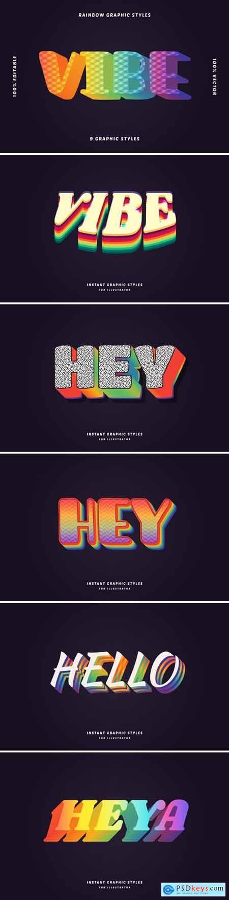 Multicolor Retro Text Effects Set