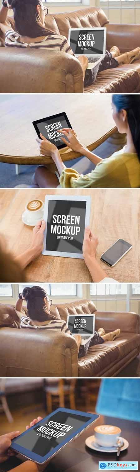 Home Laptop and Tablet Mockup Set