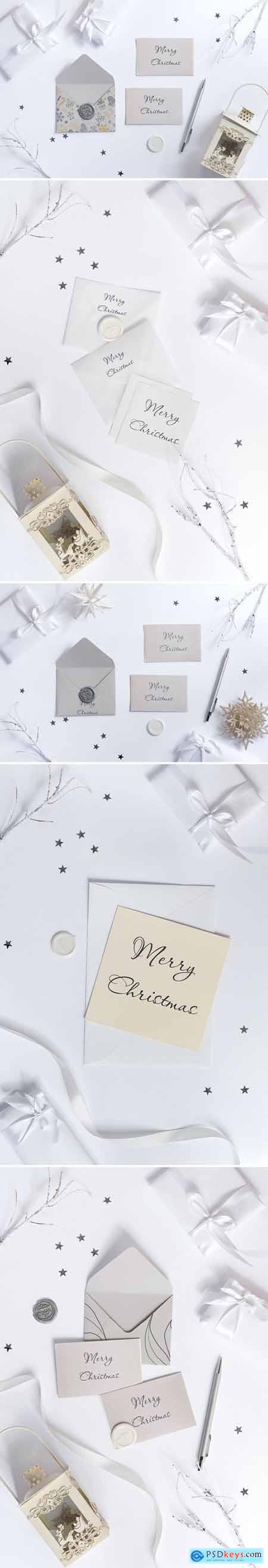 Christmas envelope and card mockup