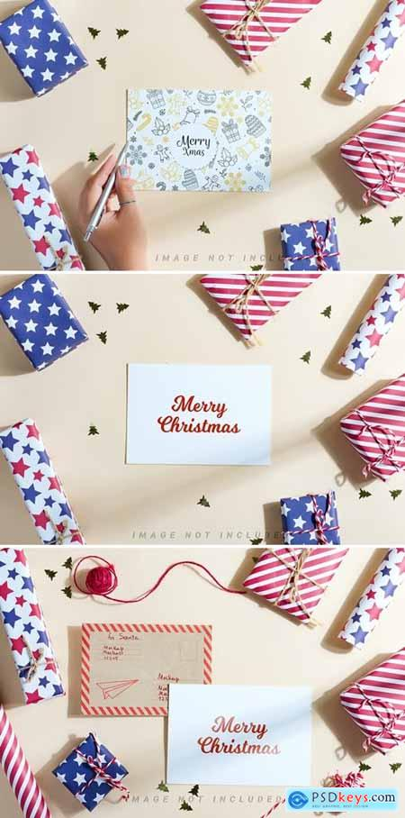 Gifts and letters Christmas mockup