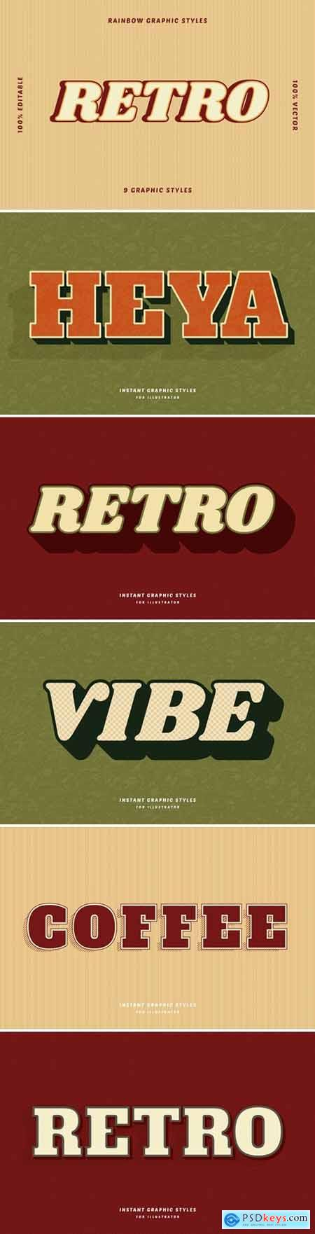 Retro Neutral Text Effects Set