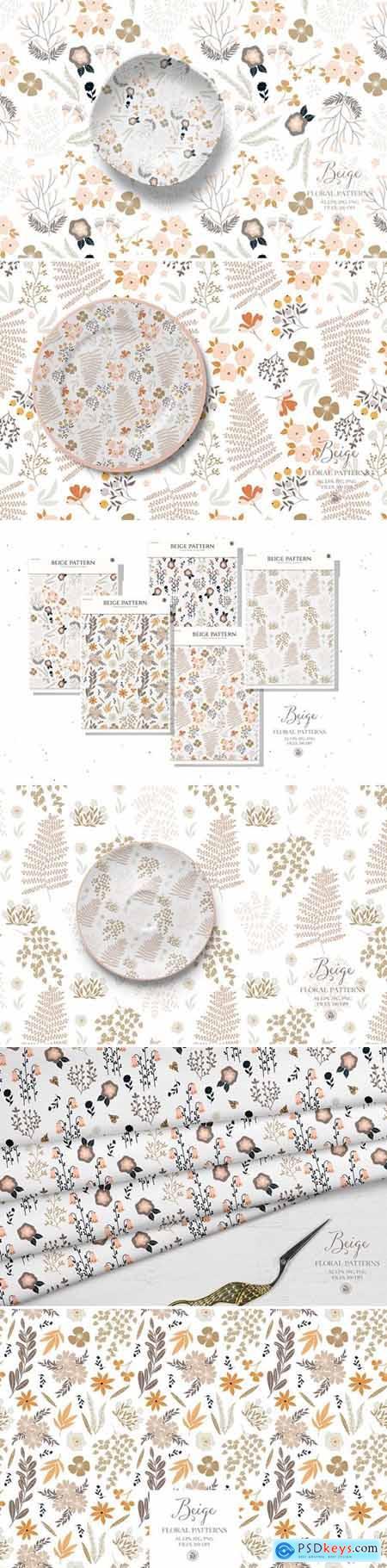 Beige floral patterns - vector set